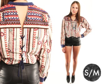 LACE UP 80s Rad Cowgirl Western Boho Southwestern Ikat Striped Lace Up Crop Top Blouse Small