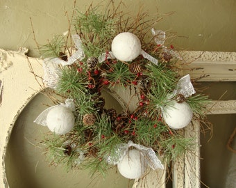 "Woodland Christmas wreath 18""  white glittered snowball rustic Cottage Chic pine berries pinecones christmas Home Decor natural"
