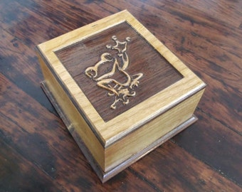 Frog Carved Keepsake Box - Solid Walnut and Cherry Hardwood