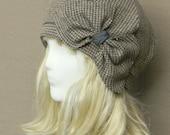 Beret Hat Bow, Vintage Brown Herringbone Wool Beret , Beret Hat Wool Tweed Bow, Beret Bow