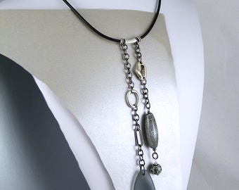 Statement Necklace in Gray with Frosted Glass and Ceramic Handmade Beads