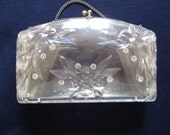 Vintage Clear Lucite Purse with Rhinestones 1950s