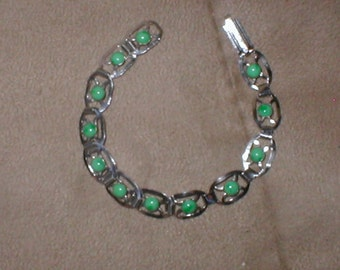 Vintage Silver and Green Jade Bracelet