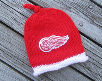DETROIT RED WINGS Hand Knit Baby Hat - Detroit Red Wings Baby Hat - Michigan Hand Knitted Baby Hat