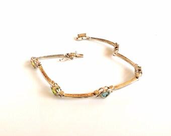 Vintage Sterling Silver bracelet with hearts gemstones semi-rigid