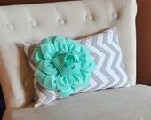 Pillows - Chevron Lumbar Pillow Mint Green Dahlia on Gray and White Zig Zag Home Decor Pillow 9 x 16