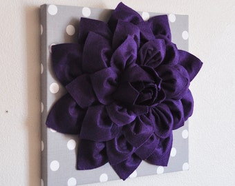 "Wall Hanging -Deep Purple Dahlia on Gray and White Polka Dot 12 x12"" Canvas Wall Art- Baby Nursery Wall Decor-"