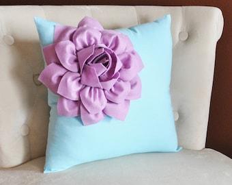 Lilac Corner Dahlia on Light Aqua Pillow 14 X 14 -Flower Pillow- Baby Nursery Pillow