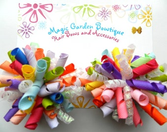 Girls Birthday Party Hair Bow Korker Clip Set (2) Korker Hair Bow Set