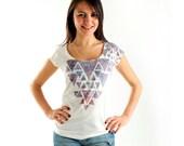 NEW! Triangle Geometric Women t-shirt summer fashion, one side printed