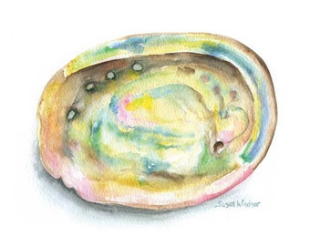 Abalone Watercolor Painting - 5 x 7 - Giclee Print