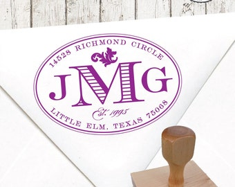 Return Address Stamp – 1.5 X 2.5 in OVAL MONOGRAM – Personalized Wedding Paper Goods