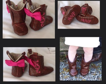 Baby Leather Cowboy Boots | Choose your Leather, Stitching, & Bow Color | Newborn size up to 24 Months