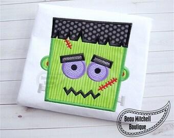 Frankenstein head applique embroidery design
