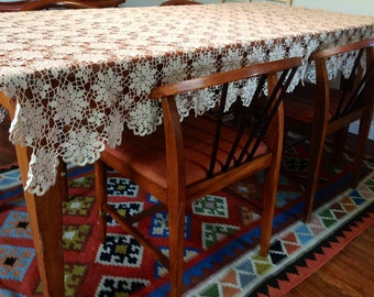 Antique Floral Queen Anne Ercu Hand Crochet Tablecloth Throw Bridal Canopy 61x73 from Sweden