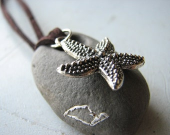Natural Stone Necklace | Starfish | Mustard Seed