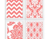 Modern damask Chevron digital Wall Art Print - set of 4 colors can be changed