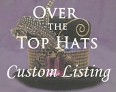 CUSTOM LISTING for Lori-- Blue peacock hat with gears and clock face