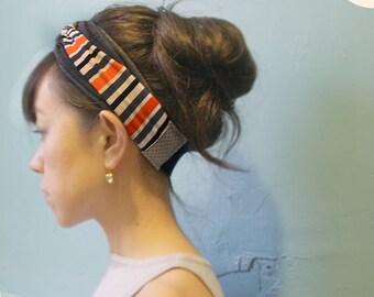 Stretchy Jersey, Ring Knot headband, Turban, Orange Gray White Black stripes, Yoga headwrap, striped headband, casual hear wrap