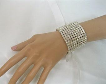 Rhinestone Cuff Bracelet, Bridal Cuff Bracelet, Ribbon Crystal Cuff