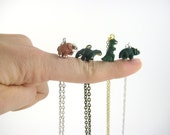 Gold or Silver Dinosaur Necklace - Extinct Dinosaur Jewelry - Tiny Charm Necklace - Little Boy or Girl Dinosaur Party Favor Gift Dino Party