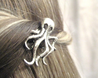 Octopus Hair Clip - Silver Octopus Jewelry - Nautical Hair Accessories - Ocean Bobby Pin - Nautical Bobbypins