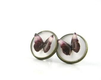 Butterfly Stud Earrings - Deep Purple Jewelry - Burgundy Earrings - Eggplant Wedding - Burgundy Jewelry