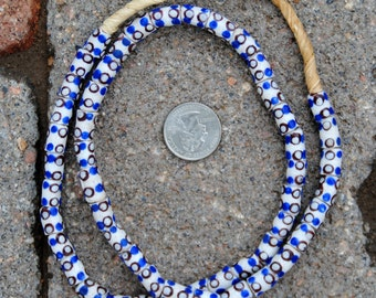 Krobo Beads: White/Blue/Brown  8x10mm