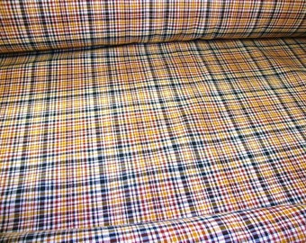 """Upholstery 54"""" width forest green, apricot, and copper brown Plaid Tartan Home Decorating checker heavy cotton water resistant fabric"""