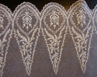 "12"" Wide French Cotton Ivory Floral Lace Victorian Style Wedding Lace Bridal Lace Antique Style Lace Made in France  JM16"