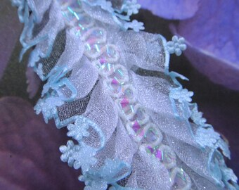 "2.5 yards 2"" width ( 50 mm ) Blue Aqua edge trim on white organza Double Gathered  Lace trim for your fashion designs"