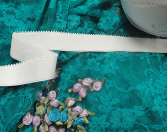 "5 yards 1"" width ( 25 mm ) plush back scalloped edge white lingerie ealstic for lingerie and headband"