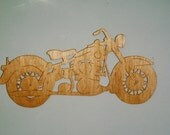 Handmade custom Scroll Saw  Fret wooden 1958 Duo-Glide motorcycle wall plaque