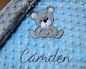 Personalized minky baby blanket- baby blue and silver grey teddy bear- lovey blanket