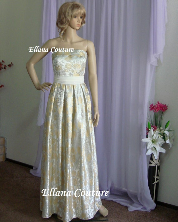 Dahlia - Vintage Style Strapless Bridal Gown. Full Length GORGEOUS Brocade Wedding Dress.