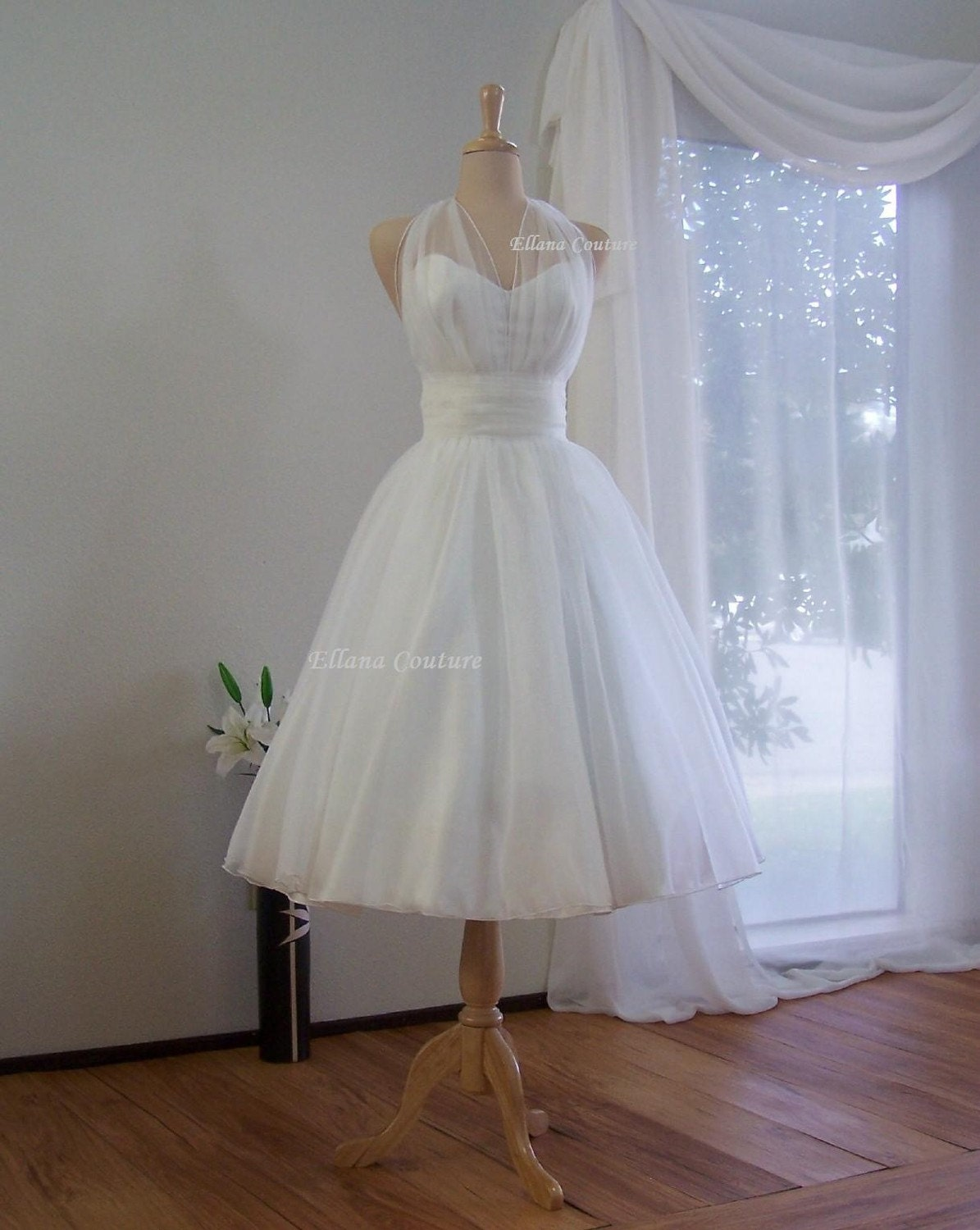 Marilyn retro inspired tea length wedding dress vintage for Retro tea length wedding dresses