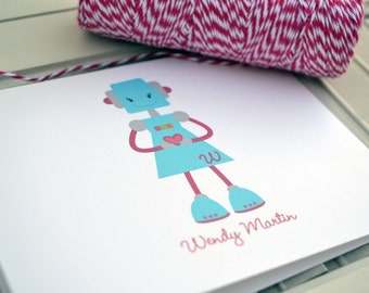 Girly Robot Personalized Stationery / Personalized Stationary / Personalized Note Cards / Stationery Set - Girls Robot Note Card Set