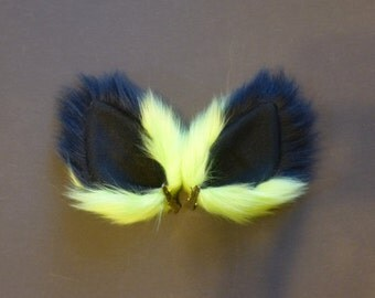 Neon Green and Black Faux Fur Dog Fox Cat Ears Costume Rave Cosplay
