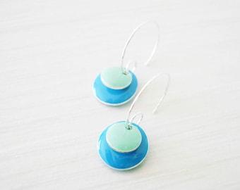 Blue Enamel Earrings - Modern Jewelry, Geometric, Silver Hoops, Mint Green, Simple