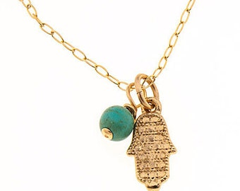 hamsa necklace, turquoise necklace, gold necklace, hamsa gold necklace, dainty necklace, gold turquoise, tiny necklace, layered necklace