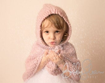 Hand Knit children poncho with hood  made of pure soft  wool 2T-4T light pink or Dark pink/ magenta Baby Shower gift Handmade in Colorado