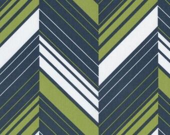 Sale-Ikebana Ziggy Stripe in Charcoal from Dear Stella - Full or Half Yard Green and Charcoal Modern Quilt Fabric