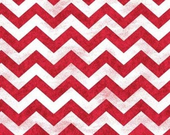 Morning Mist from Henry Glass -Red and White Distress-Look Chevron Quilt Fabric