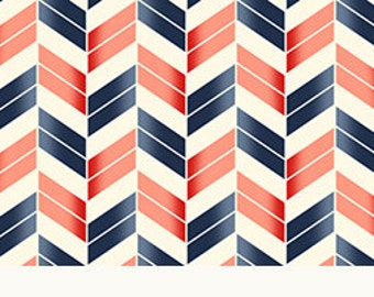 French Navy Broken Chevron from Quilting Treasures - Full or Half Yard Coral, Navy, and Cream Chevron Fabric