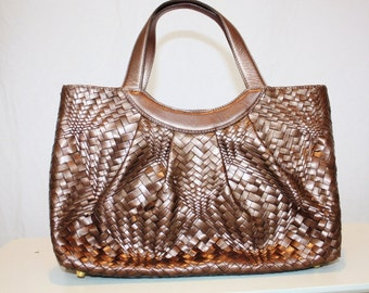 1990s Monsac Leather Purse Handbag Woven Leather Copper Brown Bronze Vintage Retro 90s Hipster Designer