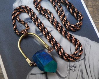 amethyst necklace / raw gemstone necklace / stone pendant / MYSTIC AMETHYST & BAR