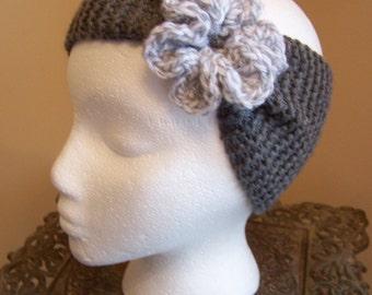 Hand Knit Flower Ear Warmer