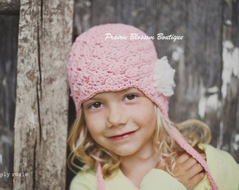Pink Toddler Earflap Hat - Cotton Girl's Hat with Ear Flaps, Crochet Toddler Hats, 12 Months to 4T