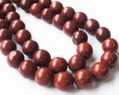 """Brown Howlite Beads - Brown Round Ball Gemstone Turquoise - Large Smooth Center Drilled Beads - 12mm - 16"""" Strand - DIY jewelry Making"""