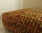 Dog Bed Cover  Soft Check Upholstery in Rust, Orange, Yellow and Green 18 x 24